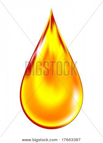Illustration of a golden drop of oil.