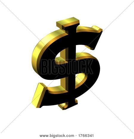 3 Dimensional Gold And Black Dollar Sign