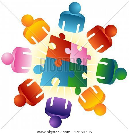 An image of a roundtable puzzle solving team people.