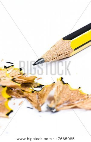 pencil shavings on white background