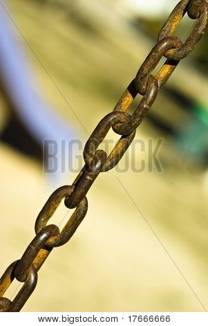 closeup of metal chain