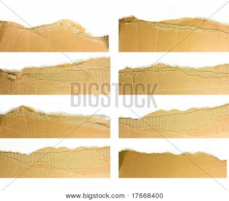 Torn strips of corrugated cardboard - high definition photo