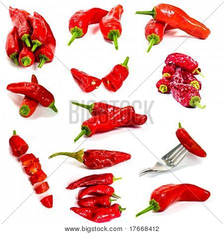 red chilies on white background - high definition photo