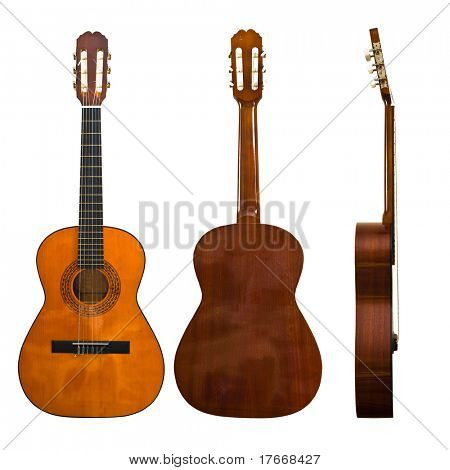 classic guitar, front, rear and lateral