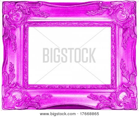 pink retro frame on white background
