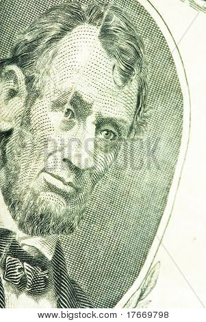 lincoln face on dollar closeup