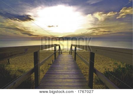 Walkway Into The Ocean Sunrise