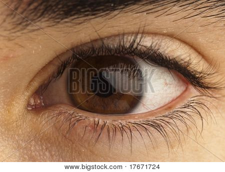 extreme closeup of brown eye of boy