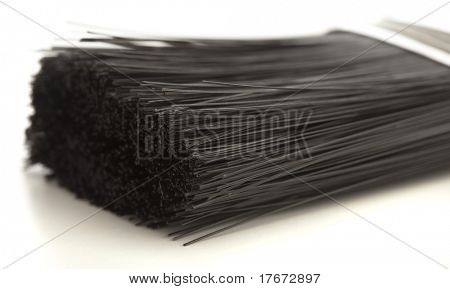 closeup of a brush on a white background