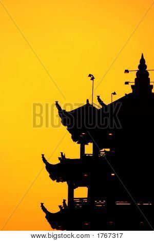 Pagoda Sunset Silhoutte