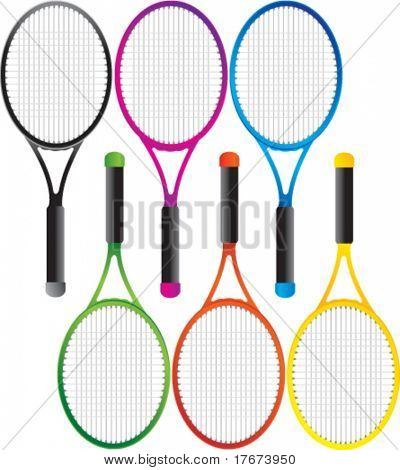 multiple colored tennis rackets
