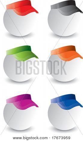 multiple colored visors on ping pong balls