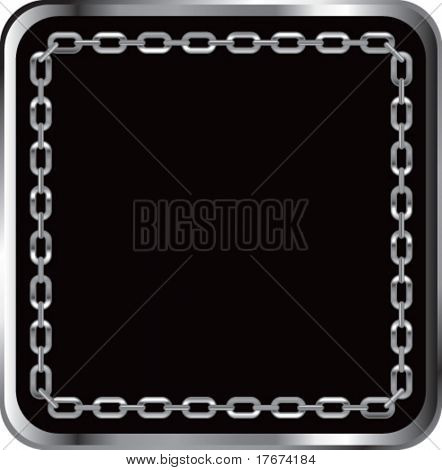 chain link frame with black background