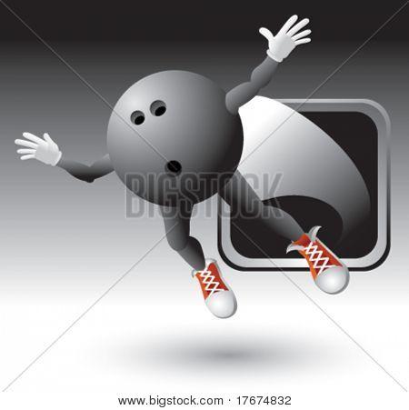 flying bowling ball man icon