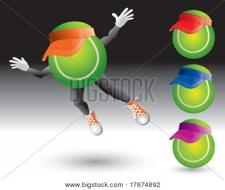 flying tennis ball man with visors
