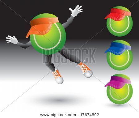 flying tennis ball man with visors