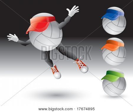flying volleyball man with visors