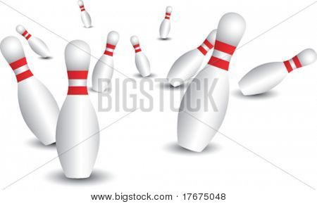 scattered bowling pins