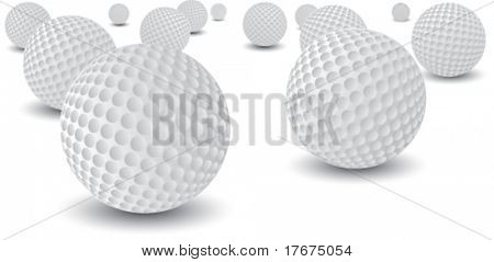scattered golf balls