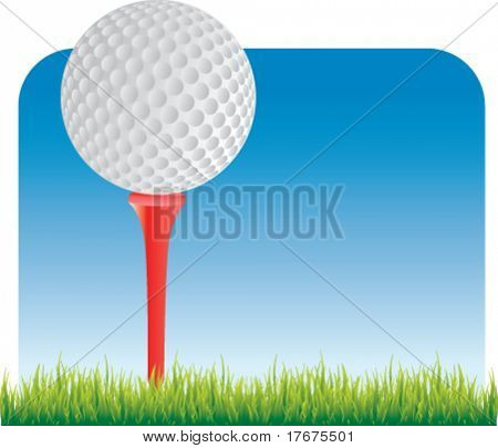 classical golf ball on tee