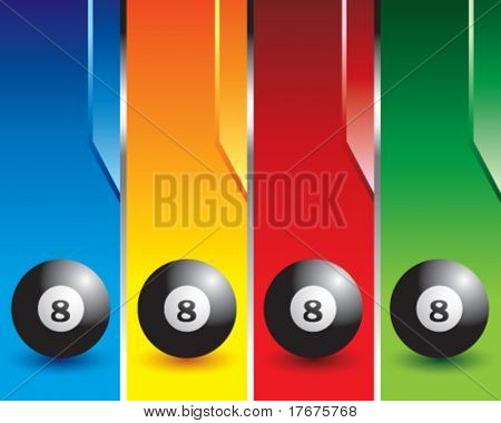 multi color eight ball banners