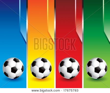 multi color soccer ball banners