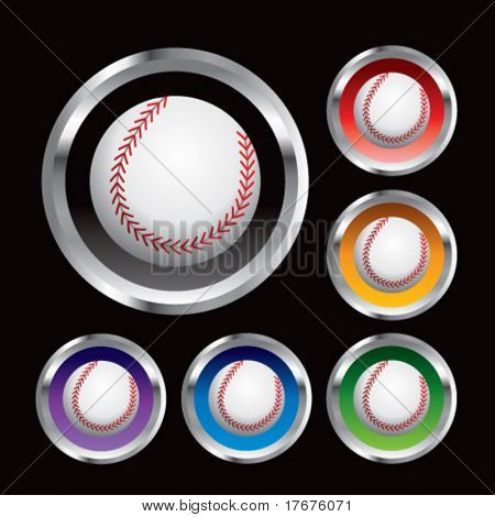multiple colored round metal  baseballs