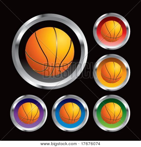 multiple colored round metal  basketballs