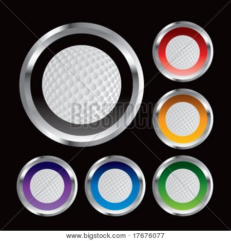 multiple colored round metal  golf balls