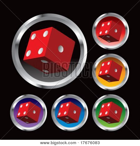 multiple colored round metal red dice