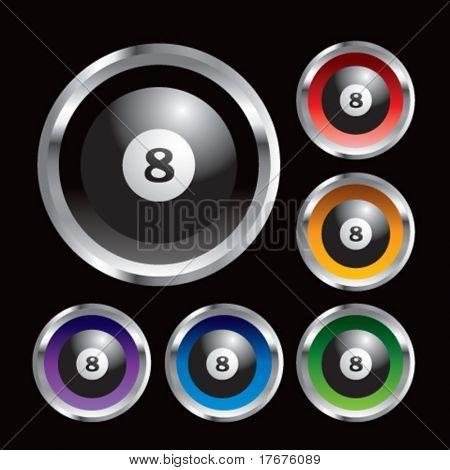 multiple colored round metal billiard balls