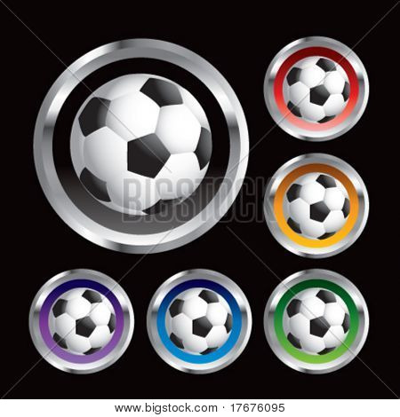 multiple colored round metal  soccer balls
