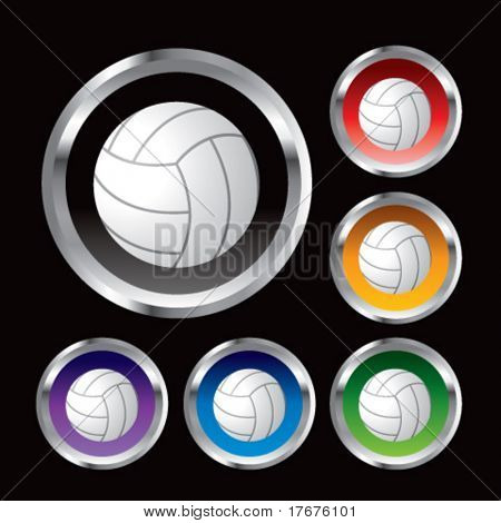 multiple colored round metal  volleyballs