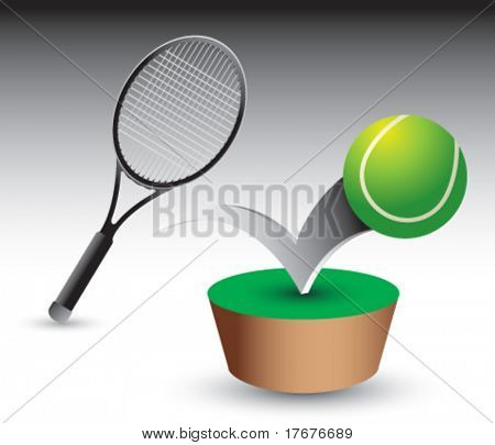 bouncing tennis ball and racket