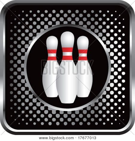 halftone silver button bowling pins