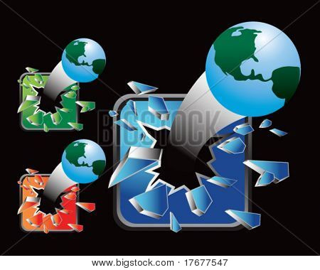 multiple colored icon breaking globes