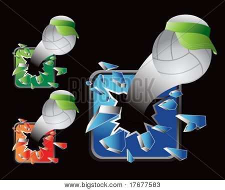 multiple colored icon breaking volleyballs with visors