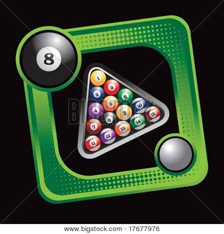 green sports box featuring billiard balls