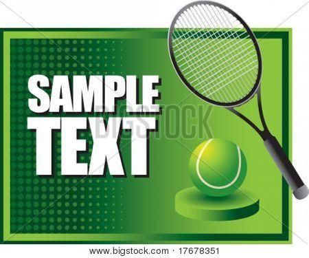 green horizontal tennis racket display