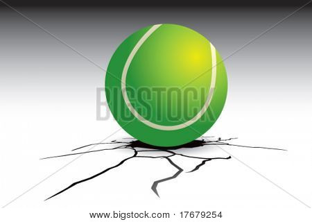 cracked floor with tennis ball