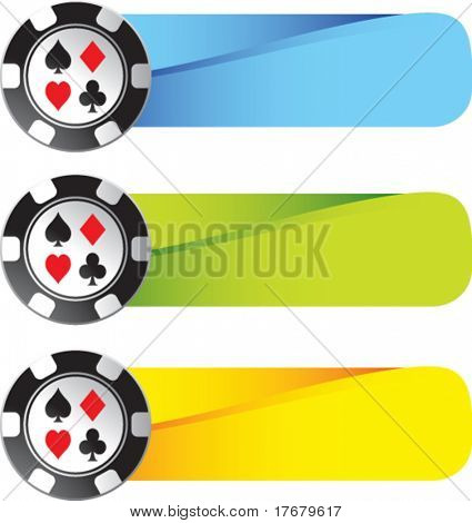poker chips on colored banners