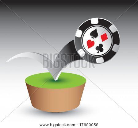 poker chip on grass patch