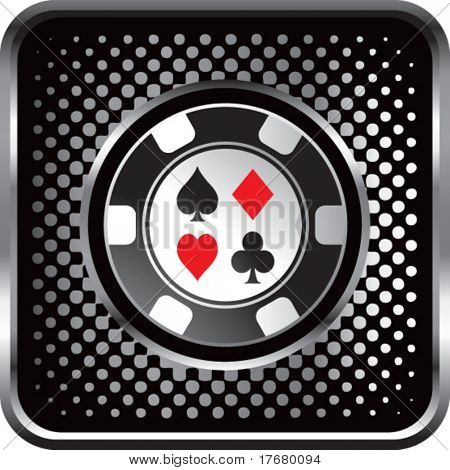 poker chip on halftone web button