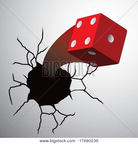 red dice on cracked wall