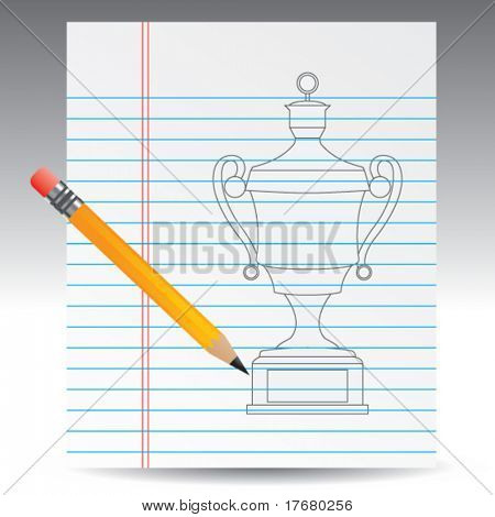 elaborate trophy on notebook paper