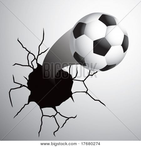 soccer ball coming out of cracked wall