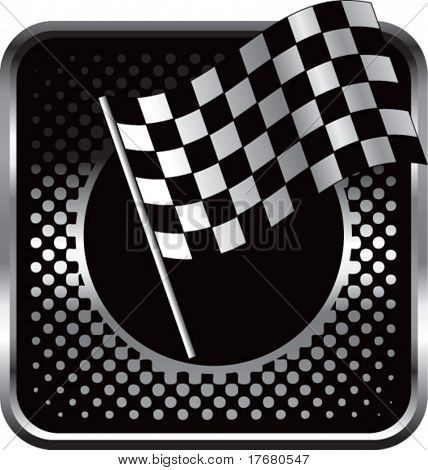 racing checker flag on black halftone web button