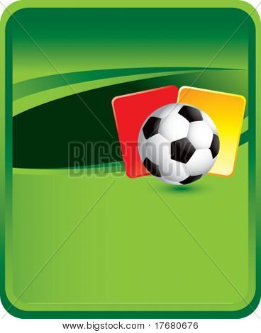 red and yellow penalty cards with soccer ball on classic green background