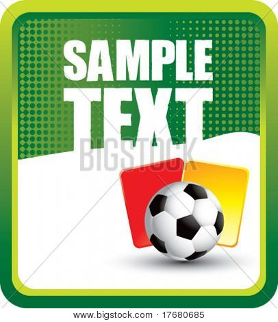red and yellow penalty cards with soccer ball on vertical green halftone banner