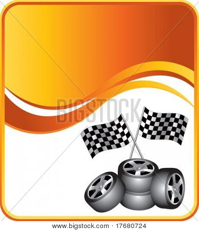 racing tires and checkered flags on orange wave background